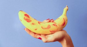 Banana with lipstick kiss marks on it